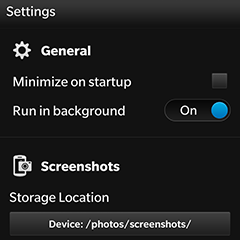 Screen Snapp settings screenshot
