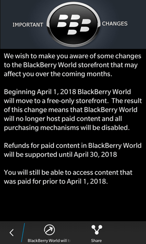 BlackBerry World ending support